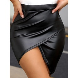 Mini Skirt Asymmetrical Asymmetric Office Lady Women's Skirt