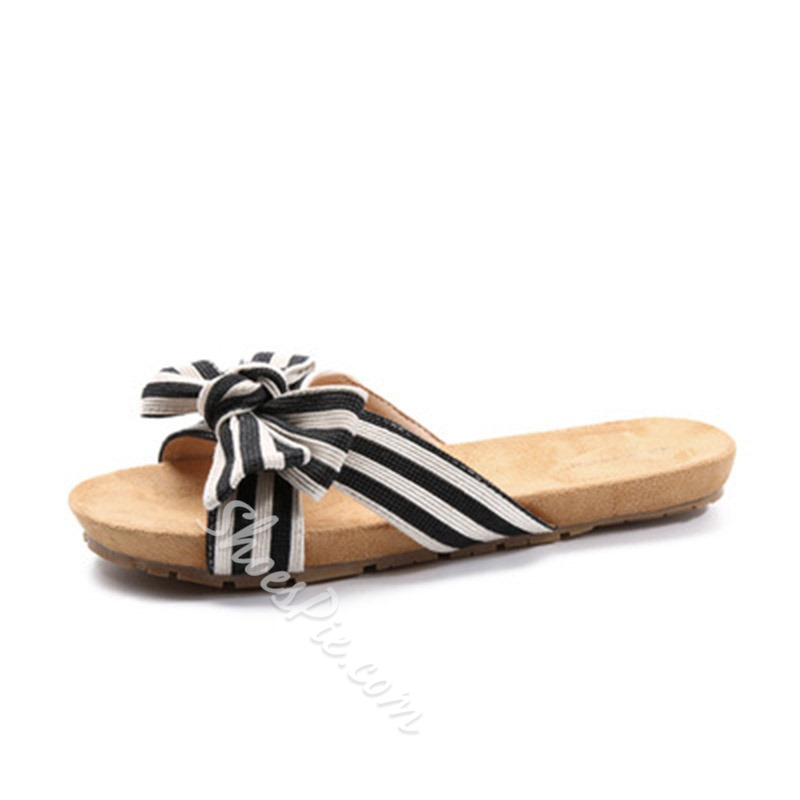 Shoespie Stripe Bow Flat Slippers