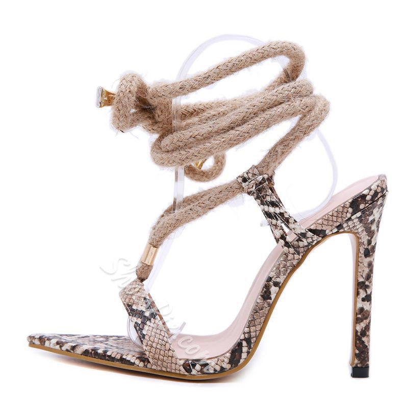 Shoespie Trendy Open Toe Stiletto Heel Lace-Up Casual Sandals
