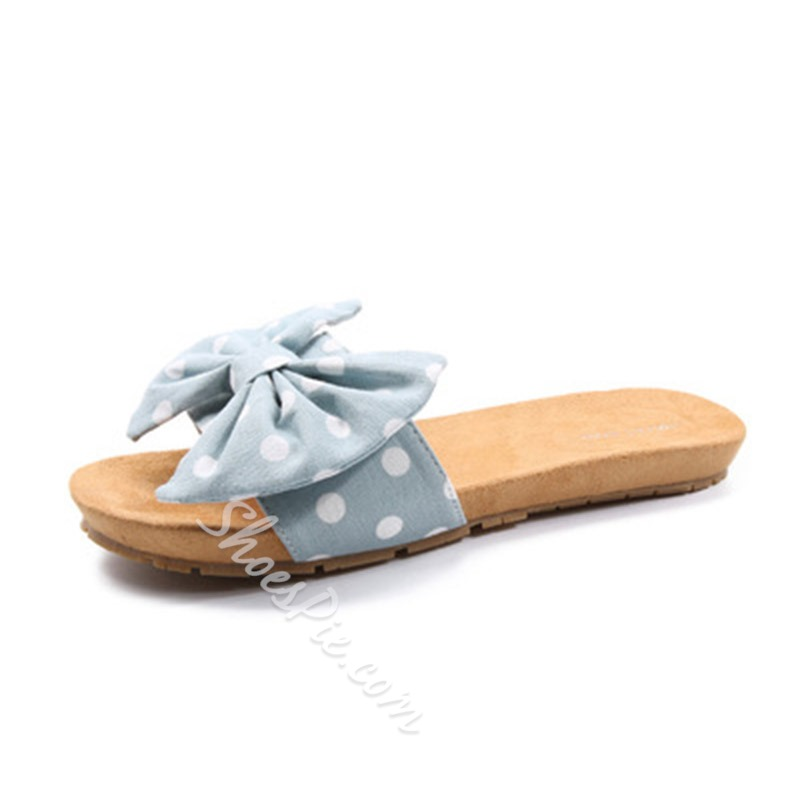 Shoespie Bow Flat Print Slippers
