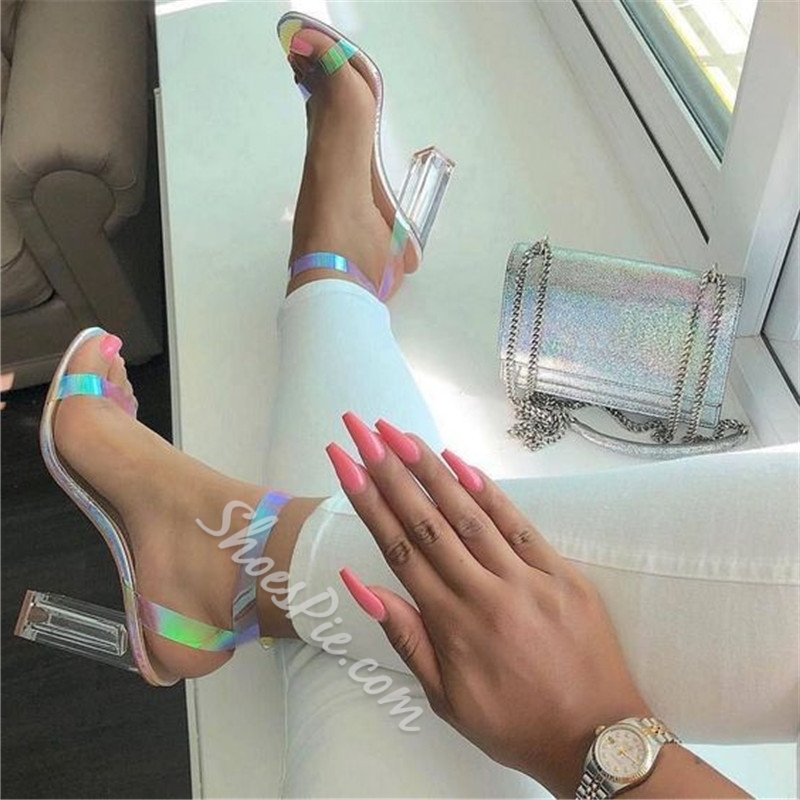 Shoespie Stylish Silver Line-Style Buckle Ankle Strap Open Toe Sandals