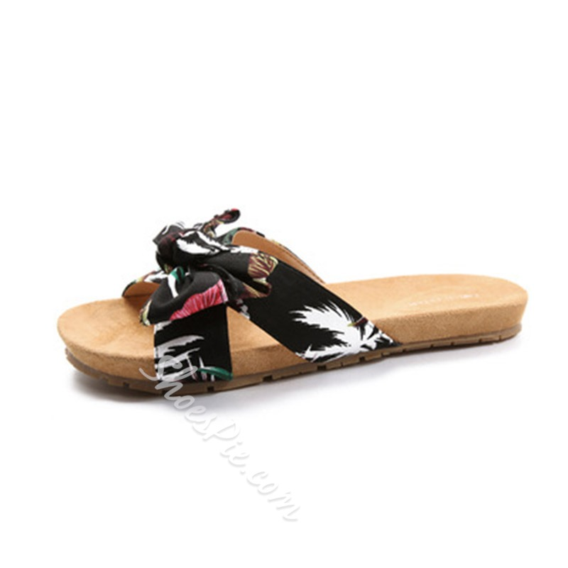 Shoespie Bow Casual Flat Slippers