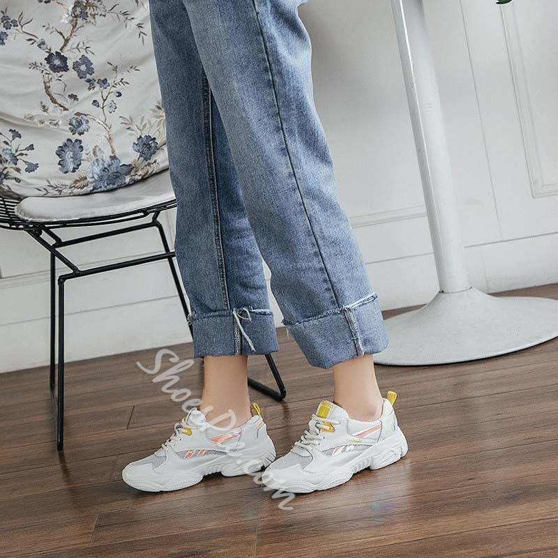 Shoespie Chunky Lace-Up Color Block Sneakers