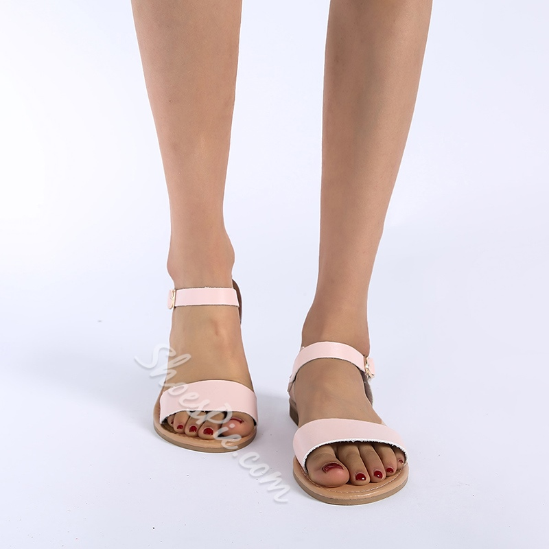 Shoespie Leopard Open Toe Buckle Flat Casual Sandals