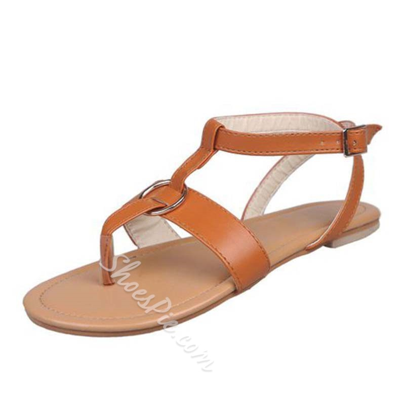 Shoespie Thong Flat Buckle Strap Casual Sandals