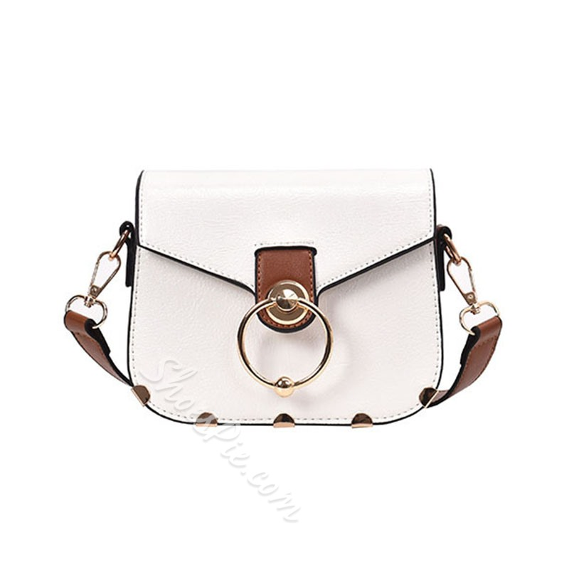 Shoespie Patchwork PU Metal Crossbody Bags