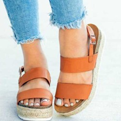 Shoespie Wedge Heel Buckle Slingback Sandals