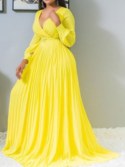 Floor-Length V-Neck Pleated Lantern Sleeve Women's Maxi Dress