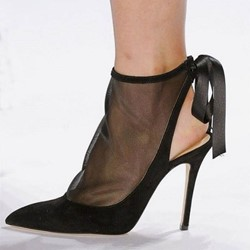Shoespie Slingback Black Mesh Stiletto Heel Pumps