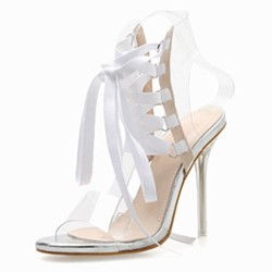 Shoespie Clear Lace Up Stiletto Heel Sandals