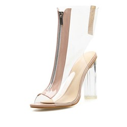 Shoespie Clear High Top Zipper Peep Toe Chunky Heel Sandals