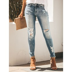 Plain Pencil Pants Zipper Zipper Women's Jeans
