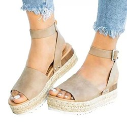 Shoespie Wedge Heel Buckle Strap Casual Sandals