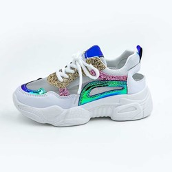 Shoespie Glitter Mesh Lace Up Color Block Sneakers