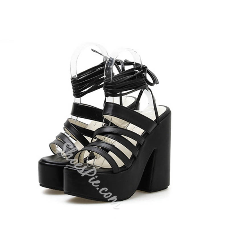 Shoespie Platform Slingback Chunky Heel Ankle Strap Plain Sandals