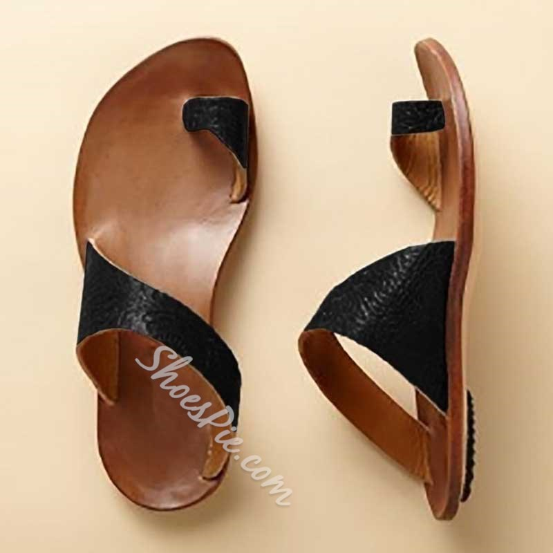 Shoespie Backless Casual Toe Ring Flats