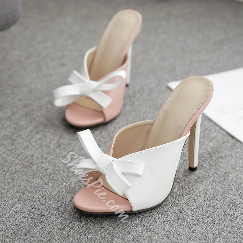 Shoespie White Bow Stiletto Heel Summer Slippers