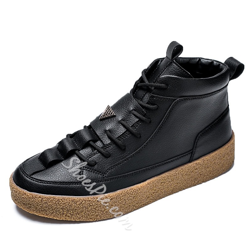 Shoespie Men's Casual High-Cut Lace Up Skate Shoes