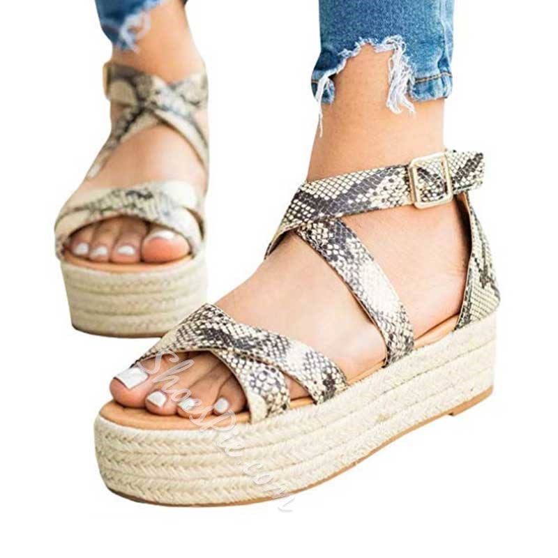 Shoespie Wedge Open Toe Buckle Sandals
