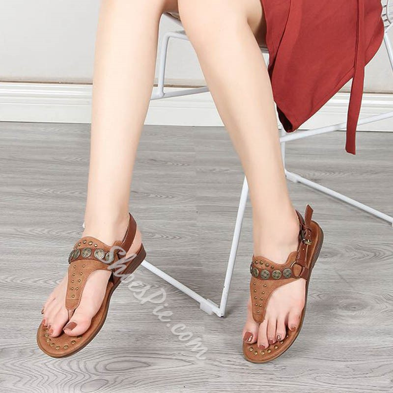 Shoespie Sexy Flat With Thong Buckle Low-Cut Upper Sandals