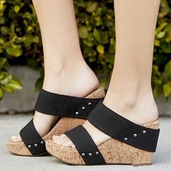 Shoespie Backless Wedge Heel Hollow Casual Slippers