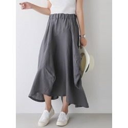 Ankle-Length Plain Expansion Mid Waist Women's Skirt