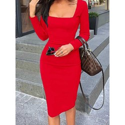 Square Neck Knee-Length Long Sleeve Fall Women's Dress