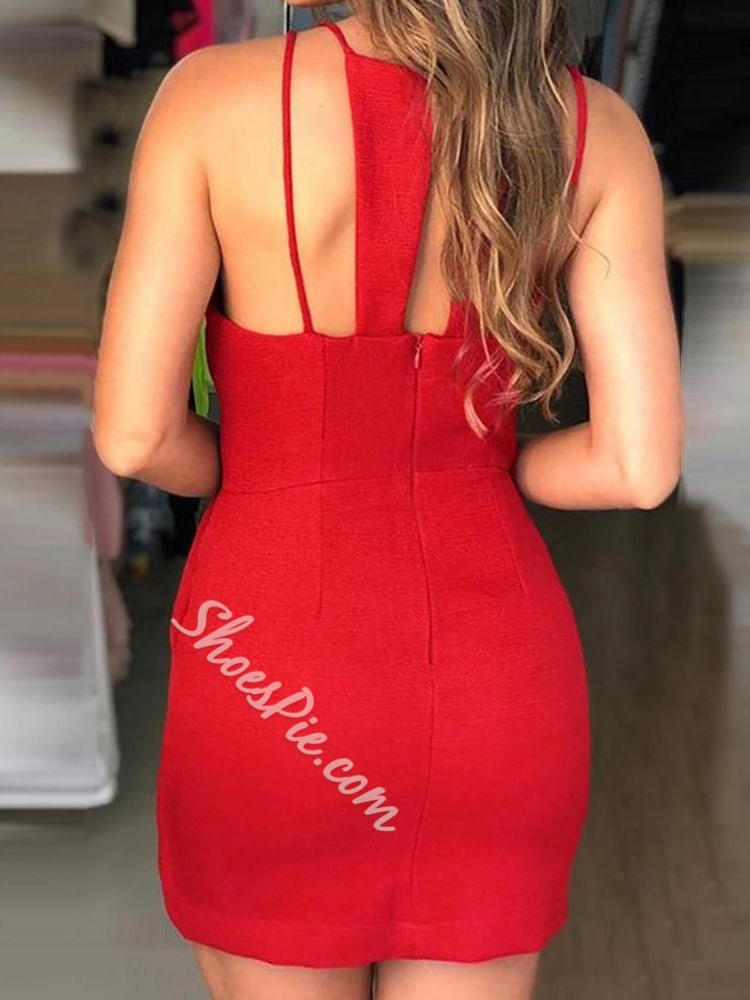 V-Neck Above Knee Sleeveless Bodycon Women's Dress