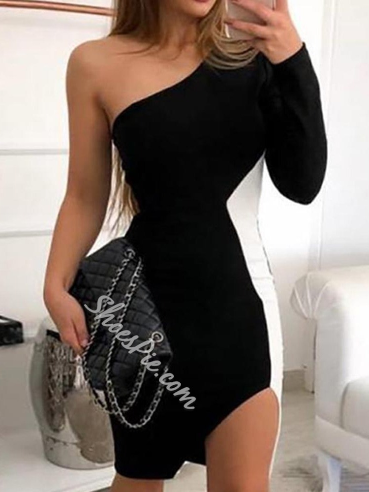 Long Sleeve Split Oblique Collar Women's Dress