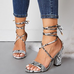 Shoespie Chunky Heel Strappy Lace-Up Serpentine Sandals