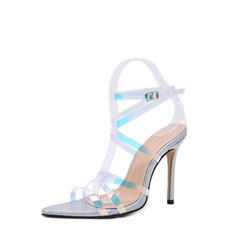 Shoespie Stiletto Heel Buckle Open Toe Jelly Sandals