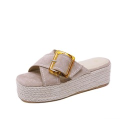 Shoespie Slip-On Wedge Heel Cross Casual Slippers