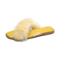 Shoespie Fluffy Clear Summer Slippers