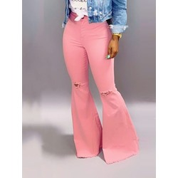 Plain Bellbottoms Button Zipper Women's Jeans