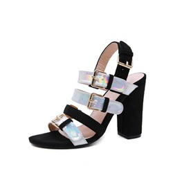 Shoespie Slingback Black Chunky Heel Sandals