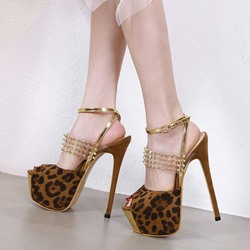 Shoespie Clear Platform Slingback Stiletto Heel Sexy Leopard Sandals