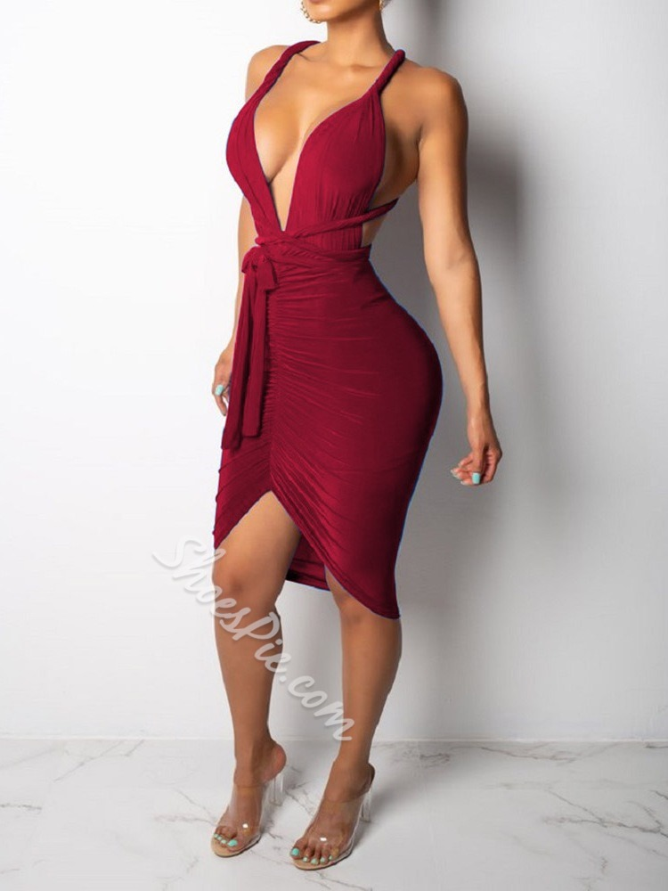 Knee-Length Sleeveless Pleated Women's Bodycon Dress