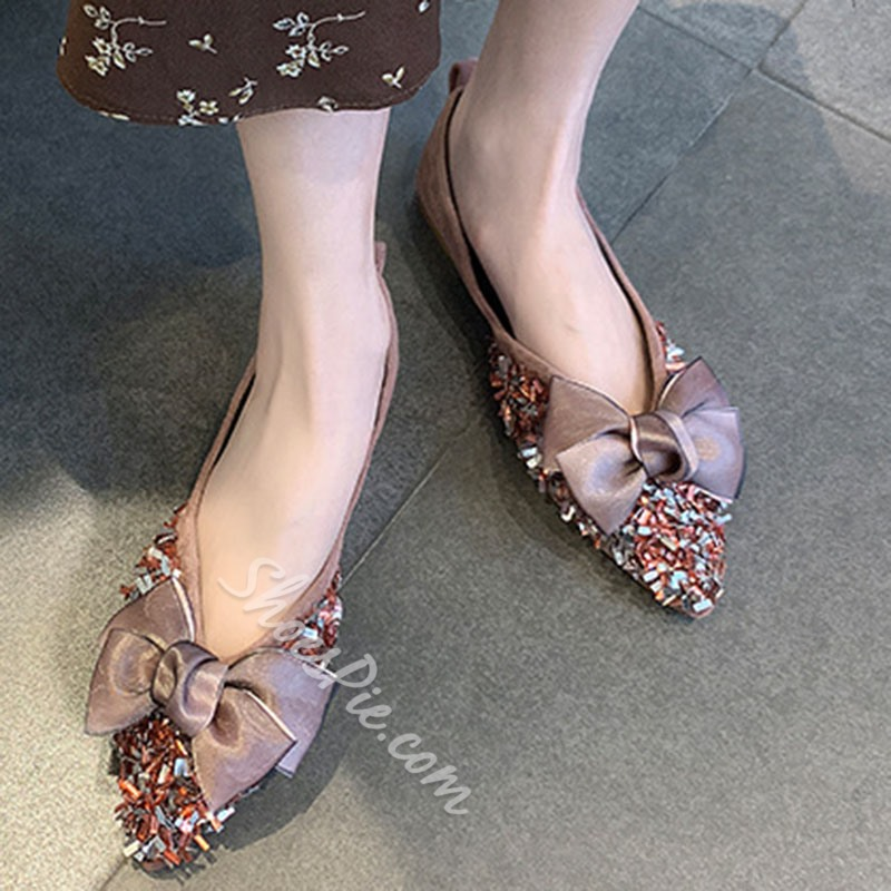 Shoespie Beaded Bow Pointed Toe Flats