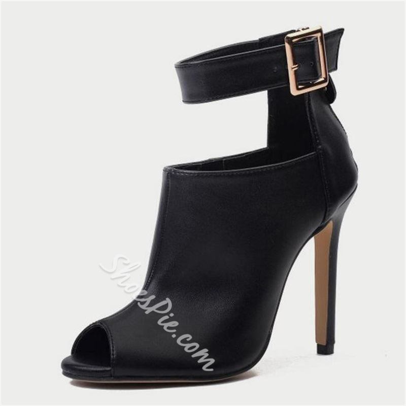Shoespie Black High Heel Sexy Ankle Boots