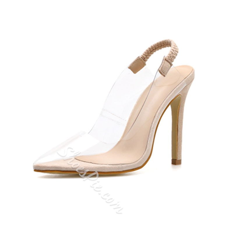 Shoespie Clear Slingback Pointed Toe Stiletto Heel Sandals