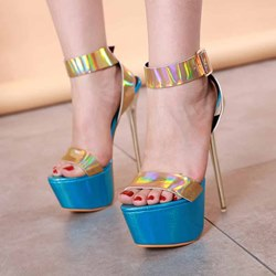 Shoespie Glitter Platform Ankle Strap Stiletto Heel Sandals