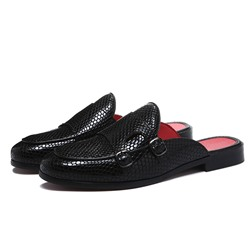 Shoespie Men's Black Flat Slippers