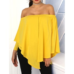 Asymmetric Off Shoulder Plain Long Sleeve Women's Blouse