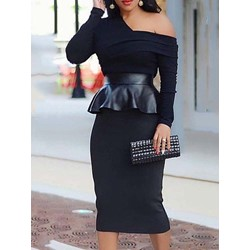 Long Sleeve Pleated Mid-Calf One-Shoulder Women's Dress