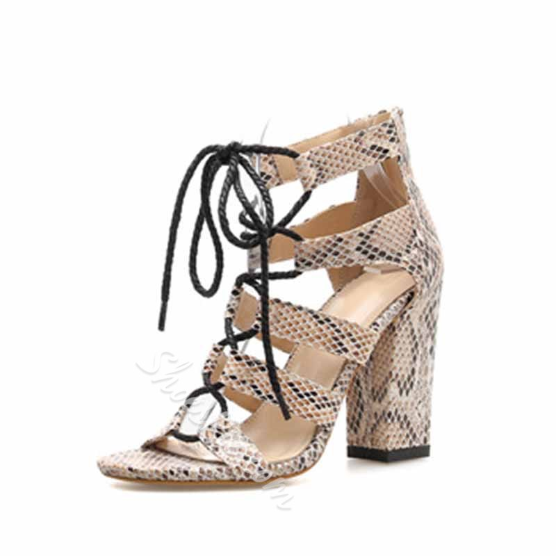Shoespie Snakeskin Zipper Chunky Heel Color Block Sandals