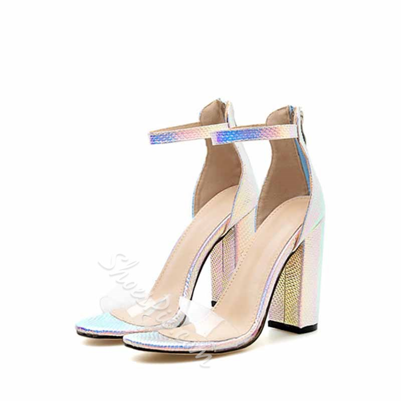 Shoespie Glitter Zipper Chunky Heel Sandals