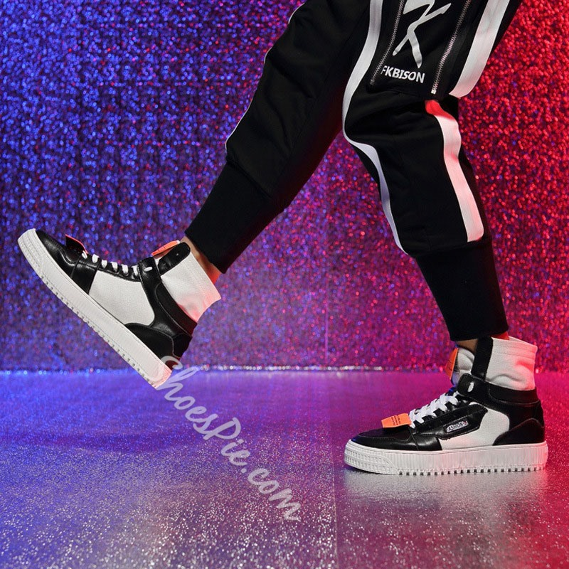 Shoespie High-Cut Upper Color Block Lace-Up Skate Shoes