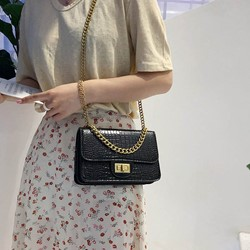 Shoespie Alligator Chain PU Rectangle Crossbody Bags