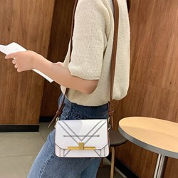 Shoespie PU Thread Rectangle Magnetic Snap Crossbody Bags