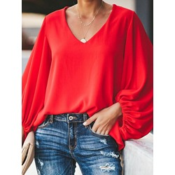 Lantern Sleeve Plain Pleated Long Sleeve Women's Blouse
